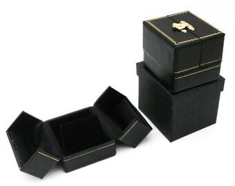4 Black Double Door Earring Jewelry Display Gift Boxes
