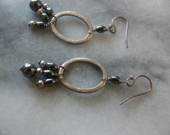black and silver hematite earrigns