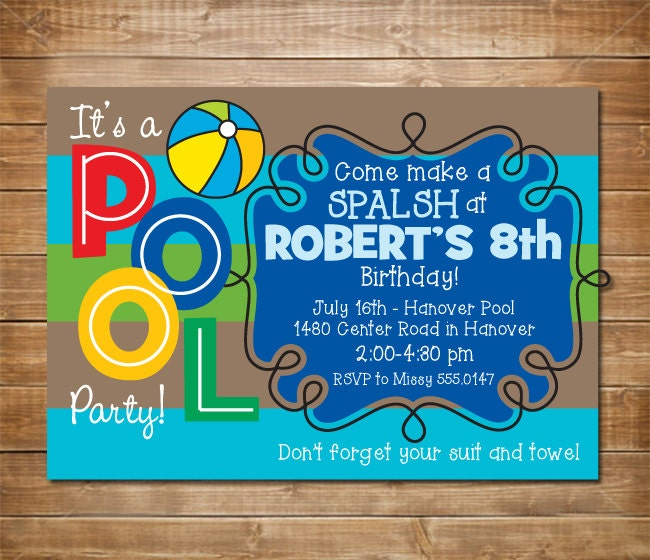 pool birthday party invitation boys swimming by chevronprintables, Birthday invitations