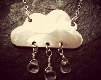 Rain Cloud Sterling Silver and Blue Topaz Necklace