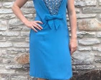 1950's to 1960's Blue Sheath Dress with Silver & Gold Sequins