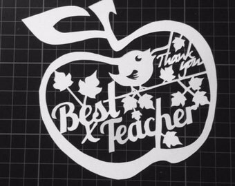 Apple Best Teacher - Thank You Paper Cut / Papercut Template - Commercial Use - Instant download.