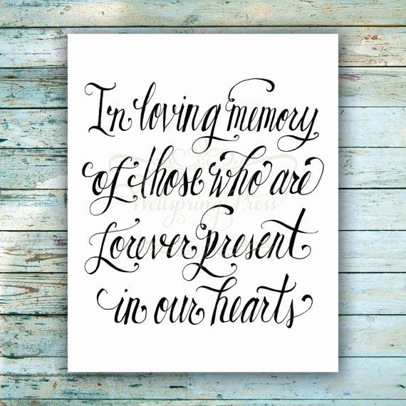 In Loving Memory Wedding Sign DIY Printable 8x10 Sign PDF