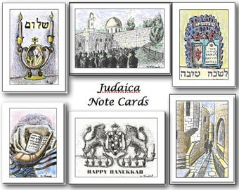 Judaica Series. Box of 8 blank note cards. Customized Message. Black/white and color. Your choice.  Mixed media. 4.25 x 5.5