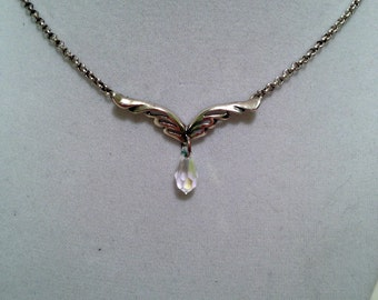 Sterling Winged Pendant w/Crystal Dangle