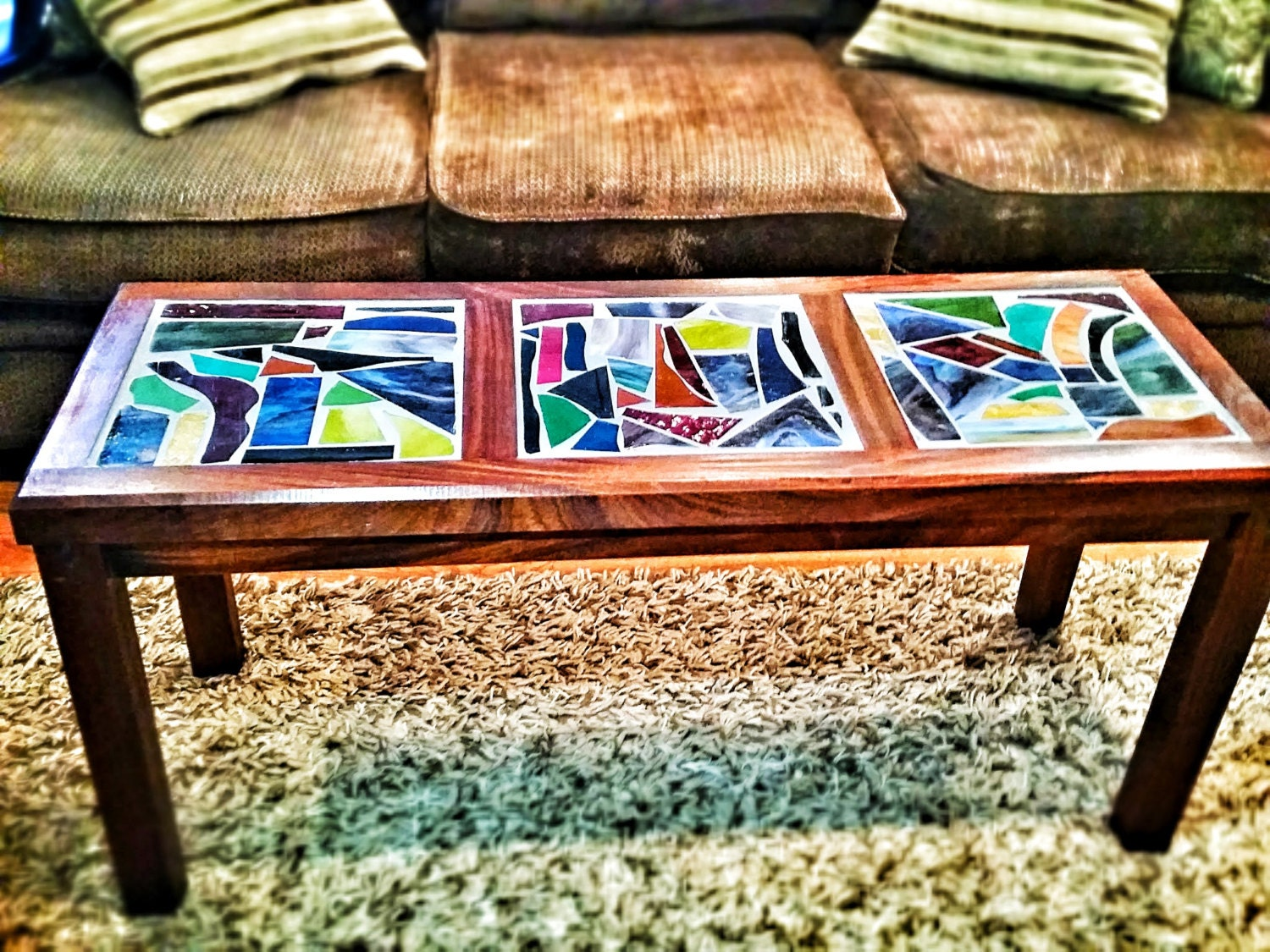 Mahogany And Stained Glass Coffee Table By Pinnacraft On Etsy