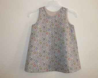 Dress for baby, grey and auks, 12 months