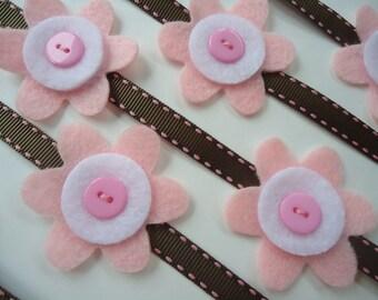 Pink felt flower garland, felt garland, felt flower, pink & brown party garland, baby shower decor, flower garland, girls room decor #003