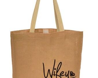 Wifey Tote Bridal Bag - Natural Jute Fiber Custom Printed Carry-On Tote Bag