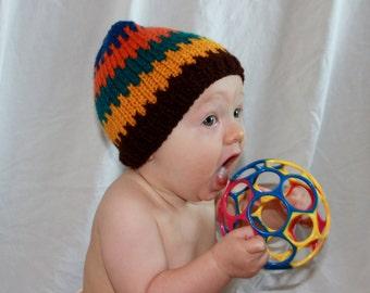 child's hand knit stocking hat