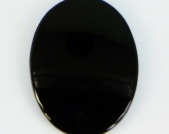 1970's 40x30mm Vintage Western Germany Black Glass Cabochon (Cab) 2pcs