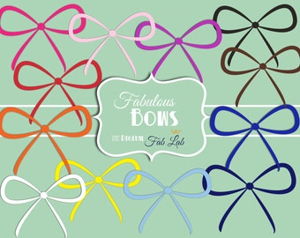 Multi-color Bows, Shabby Chic, Elements, Embellishments, Scrapbook, Digital Clipart