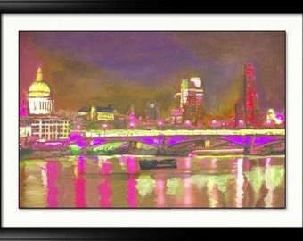 London art - Signed Print - 8.3 x 11.7 inches -London Bridge -London Chic - Colourful abstract print-holiday gift idea