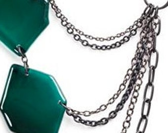 Asymmetrical Green Necklace - Recycled glass