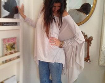 Loose Shirt / Oversize Cream Off White Women Shirt  / Long sleeve Blouse / Yoga