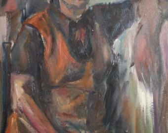 Vintage old woman sitting portrait oil painting