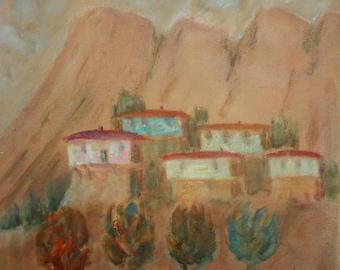 Village landscape oil painting signed