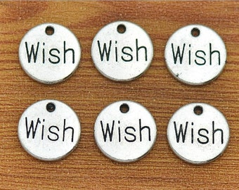 60 antique silver 14mm Wish word charms