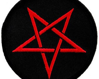 PENTAGRAM PATCH iron-on embroidered PENTACLE red Devil 666 Satanic Pagan Emblem