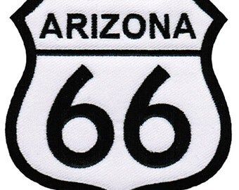 ROUTE 66 ARIZONA PATCH iron-on embroidered Road Sign Historic Highway Emblem biker applique