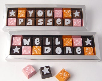 WELL DONE Message Gift Box of Chocolates - Milk Chocolate - Dark Chocolate - You Are a Genius - Top Marks - You Did It - You Passed