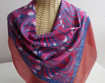 silk scarf painted by hand on deep red and blue swirls