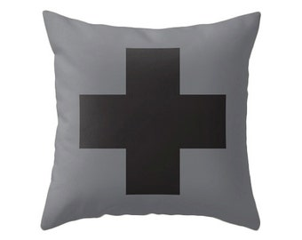 Grey and black Swiss Cross pillow cover Black swiss cross pillow Grey cushion Grey throw pillow Grey and black cushion black swiss cross