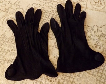 1970s Vintage Black Nylon Formal Dress Opera Gloves Wrist Length