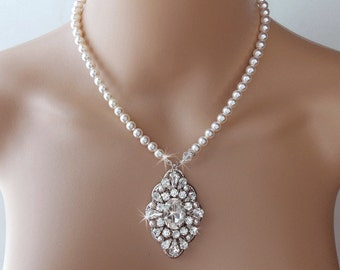 Bridal Necklace, Wedding Necklace, Pearl Necklace, Wedding Jewelry, Vintage Style, Gatsby Necklace, Swarovski Necklace HARPER