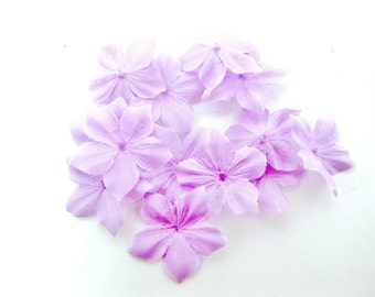 Shaped flowers of lilac silk pongee 10 size 35 mm