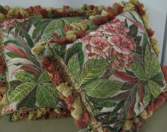 SALE VINTAGE Bark cloth floral hand made pillows with sumptuous vintage trim