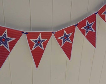 PATRIOTIC Red White Blue Banner-Memorial-Fourth of July -Military Welcome Home-Party Decoration-Patriotic Star Banner-Independence Day