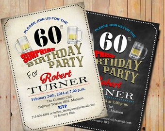 Surprise 60th Birthday Invitation 50th / 70th / Any Age / Beer / Digital Printable Invitation / Customized