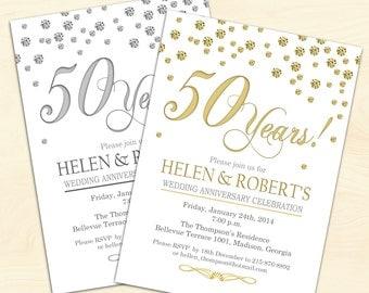 50th Wedding Anniversary Invitation Confetti Gold White Digital Printable Customized