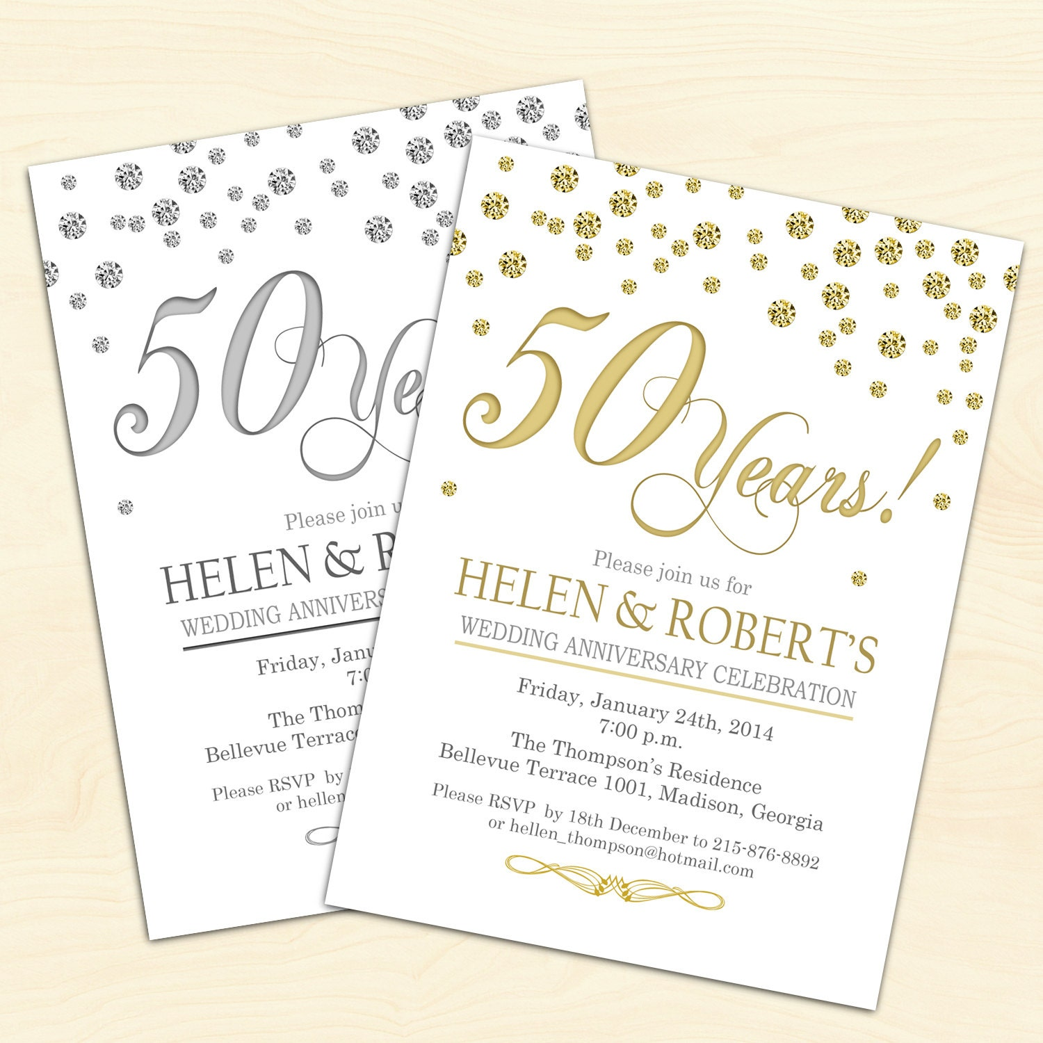 Golden Wedding Anniversary Invitations Wording: 50th Wedding Anniversary Invitation / Confetti / Gold / White