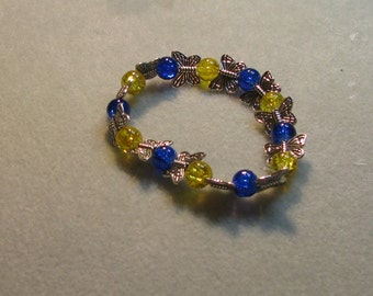 Blue and yellow butterfly bracelet