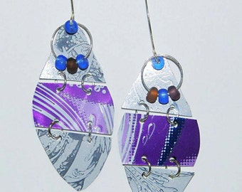 Purple & White Dangle Earrings of Upcycled Aluminum showing Wire-work with Glass Bead Embellisments