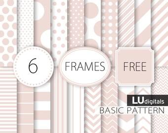 Old pink basic scrapbook paper vintage digital instant download wedding pale printable card invites basic pattern polka dots stripe chevron