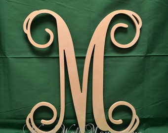 30 wooden initial unfinished vine script letter wooden letters wedding guest book nursery decor home decor