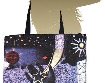 UNIVERSE Tote Bag w/ inside pocket and zippered top closure
