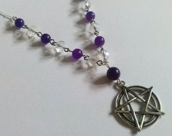 Silver Pentagram Necklace , Amethyst Pentacle Necklace , Wicca Necklace , Pagan Necklace , Wiccan Jewelry , Handmade Gift , Handmade Jewelry