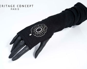 FINGERLESS gloves Black 100% cashmere POMPADOUR HEIRLOOM Concept Paris Christmas accessory luxury Sexy door garter hand layering