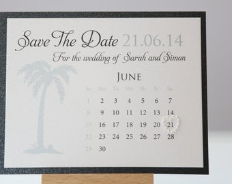 Beach Save The Date Calendar Palm Tree
