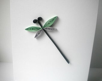 Quilled Dragonfly Card in Green and Gray (blank inside)