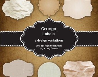 INSTANT DOWNLOAD - Collection of digital grunge style labels with 6 different designs plus bonus background image