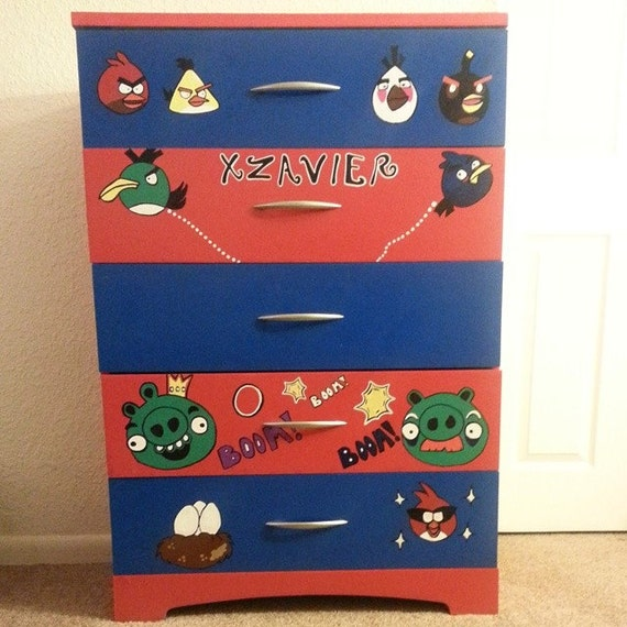 Angry Bird Dresser.Hand Drawn Hand Painted. Pick up Only.