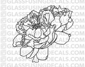 Peony 1 Glass Fusing Decal for Glass or Ceramics