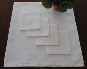 Vintage Irish Linen Tablecloth & Napkin Set Hemstitch 009