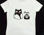 """Camiseta personalizada y vinilo de corte modelo """"búho"""""""