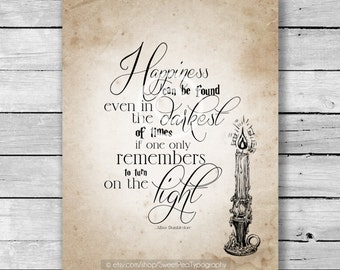 Happiness Can Be Found Harry Potter Inspired Art Print - 8x10